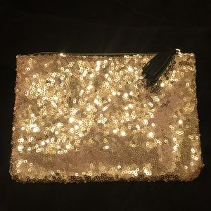 Handbags - Gold Sequin Makeup Bag